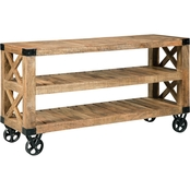 Scott Living Sofa Table with Black Industrial Wheels