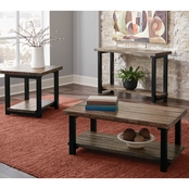 Scott Living Rustic Planked Top Coffee Table