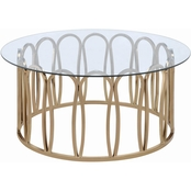 Coaster Modern Round Coffee Table with Metal Base