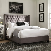 Scott Living Benicia Upholstered Bed with Demi-Wings and Button Tufting