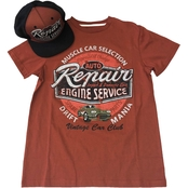 Blackjack Boys Repair Engine Service 2 Pc. Tee and Cap Set