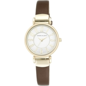 Anne Klein Women's Easy To Read Silvertone and Leather Strap Watch AK/2157SVBK