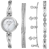 Anne Klein Women's Silvertone Swarovski Crystal Accent Watch and Bracelet Set