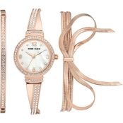 Anne Klein Women's Swarovski Crystal Accented Rose Goldtone Watch and Bracelet Set