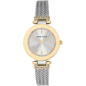 Anne Klein Women's Two Tone Mesh Swarovski Crystal Accent Watch AK/1907SVTT