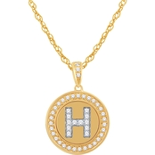 14K Gold and Silver Alphabet 'H' Disc Pendant 0.25 CTW with 18 in. Chain
