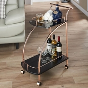 Furniture of America Tate Rose Gold Bar Cart