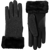 Isotoner Women's Faux Leather Gloves with Faux Fur Cuff