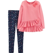 Carter's Little Girls 2 Pc. Poppy Bow Top and Leggings Set