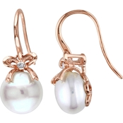 Michiko 10K Rose Gold Cultured Freshwater Pearl and Diamond Accent Bow Earrings