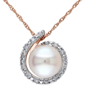 Michiko 10K Rose Gold Cultured Freshwater Pearl and Diamond Accent Necklace