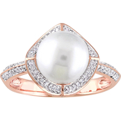Michiko Cultured 10K Rose Gold Freshwater Pearl and 1/4 CTW Diamond Cocktail Ring
