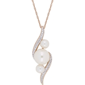 Michiko 10K Rose Gold Cultured Freshwater Pearl and 1/8 CTW Diamond Necklace