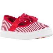 Oomphies Girls Emma Canvas Slip On with Bow Sneakers