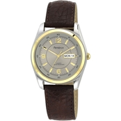 Armitron Men's Day/Date Function Brown Leather Strap Watch 38mm 20/1925GYBN