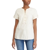 Lauren Ralph Lauren Petite Anilyav Knit Lace Up Cotton Tunic Top
