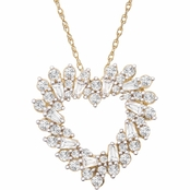 10K Yellow Gold 1 CTW Diamond Heart Pendant