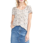Vince Camuto Whimsical Ditsy Printed Scoop Neck Tee
