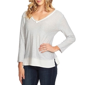 Vince Camuto V Neck Woven Hem Layered Top