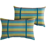 Mozaic Co. Sunbrella Astoria Lagoon Stripe 12 x 24 in. Dual Flange Pillow 2 pk.
