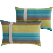 Mozaic Co. Sunbrella Astoria Lagoon Stripe 12 x 24 in. Large Flange Pillow 2 pk.