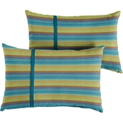 Mozaic Co. Sunbrella Astoria Lagoon Stripe 12 x 24 in. Small Flange Pillow 2 pk.