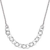 Sterling Silver 1/10 CTW Diamond Curb Link Bolo Necklace