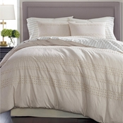 Martha Stewart Collection Eyelet Stripe Cotton 8 pc. Comforter Set