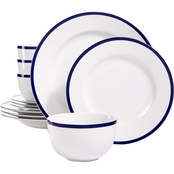 Martha Stewart Collection Blue Rim 12 pc. Dinnerware Set