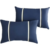 Mozaic Co. Sunbrella Canvas Navy with Canvas Dual Flange Pillows, Set of 2