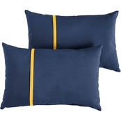 Mozaic Co. Sunbrella Canvas Navy with Canvas Small Flange Pillows, Set of 2