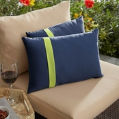 Mozaic Sunbrella Canvas Navy with Canvas Macaw Navy Large Flange Pillows, Set of 2