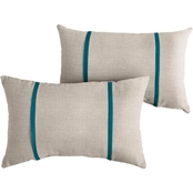 Mozaic Co. Sunbrella Cast Silver with Canvas Gray Dual Flange Pillows, Set of 2