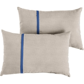 Mozaic Co. Sunbrella Cast Silver with Canvas Gray Small Flange Pillows, Set of 2