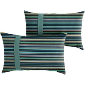 Mozaic Sunbrella Cultivate Breeze with Cast Blue Large Flange Pillows, Set of 2