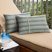 Mozaic Sunbrella Gateway Mist Stripe with Silver Blue Small Flange Pillows Set of 2
