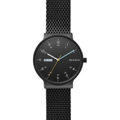 Skagen Men's Ancher Black Steel Mesh Day Date Watch 40mm SKW6456
