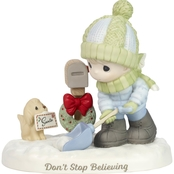 Precious Moments Boy Shoveling Snow by Mailbox Figurine