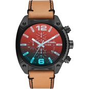 Diesel Men's Overflow IP and Leather Watch 49mm DZ4482