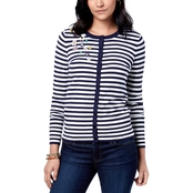 Charter Club Embellished Striped Cardigan