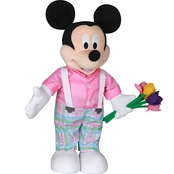 Gemmy Disney Easter Greeter Mickey in Plaid Pants Holding Flowers