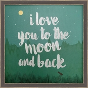 GreenBox Art 15 x 15 Framed Love You to the Moon Embellished Canvas Wall Art