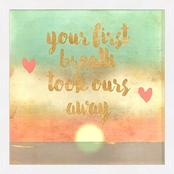 Greenbox Art 15 x 15 Framed Your First Breath Metallic Embellished Canvas Wall Art