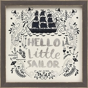 GreenBox Art Framed Hello Little Sailor Embellished Canvas Wall Art 11 x 11