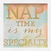 GreenBox Art Framed Nap Time Is My Specialty Embellished Canvas Wall Art 11 x 11