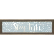 Greenbox Art 22 x 6 Framed Sleep Tight Blue Metallic Embellished Canvas Wall Art