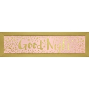 GreenBox Art Framed Good Night Pink Metallic Embellished Canvas Wall Art 22 x 6