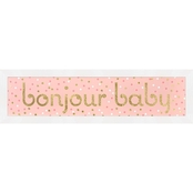 Greenbox Art 22 x 6 Framed Bonjour Baby Metallic Embellished Canvas Wall Art