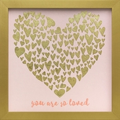 GreenBox Art 11 x 11 Framed So Loved Gold Hearts Embellished Canvas Wall Art