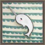 GreenBox Art Framed Narwhal Metallic Embellished Canvas Wall Art 15 x 15